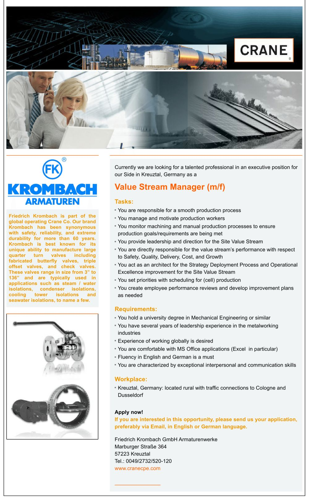 Value stream manager krombach armaturen kreuztal - Krombach armaturen ...