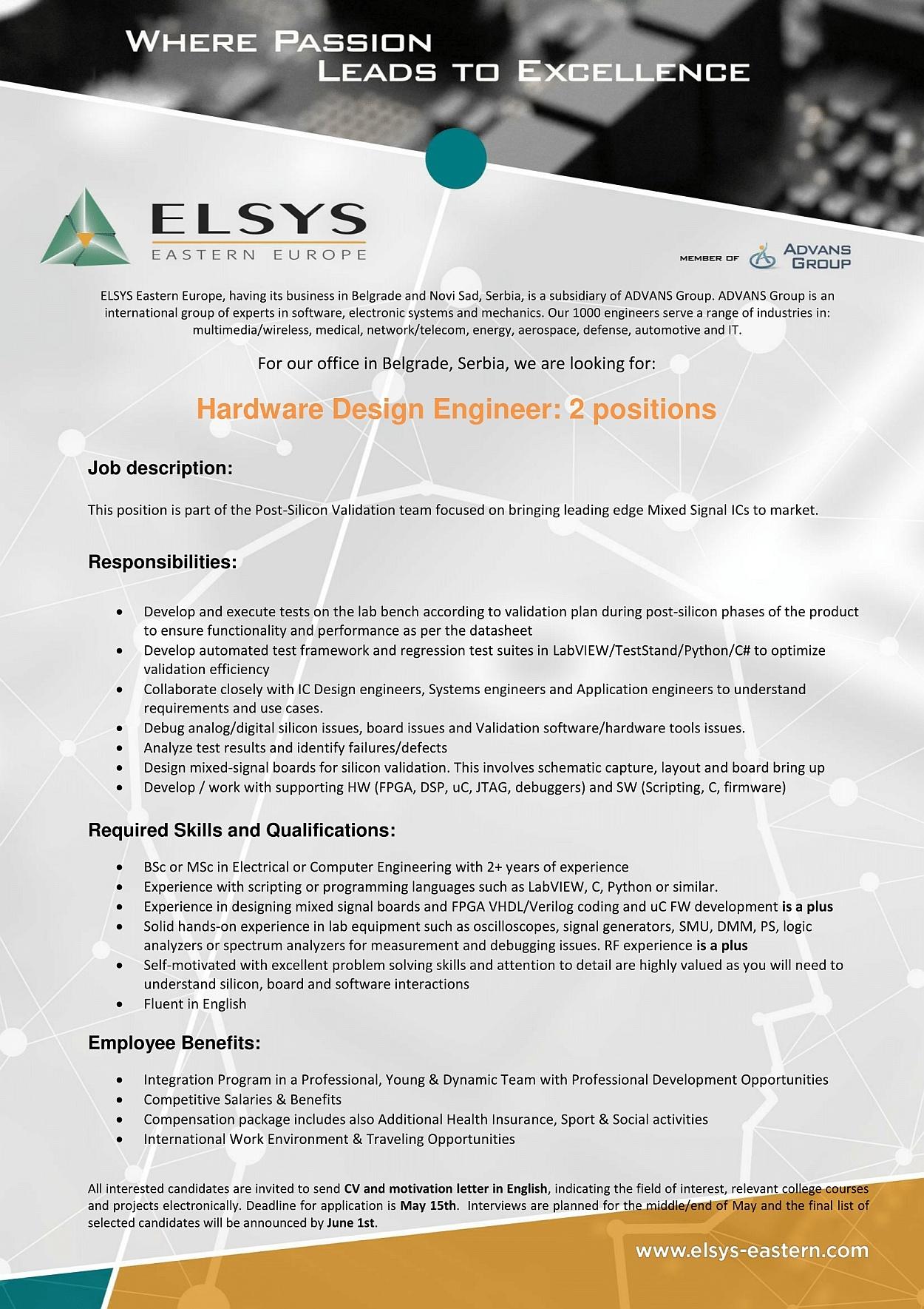 Hardware design Engineer cover letter