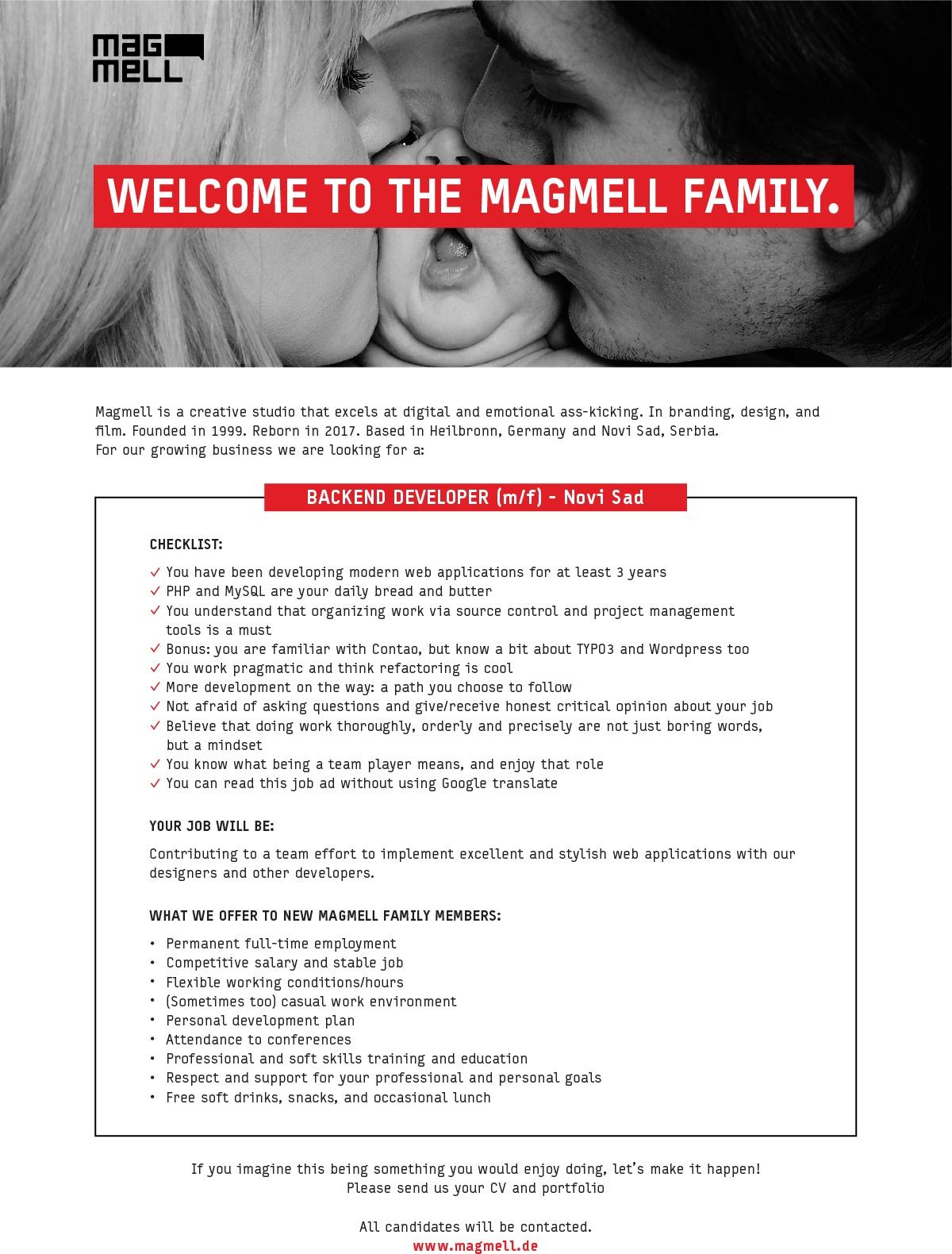 Backend Developer   Magmell d o o    Novi Sad   HelloWorld rs