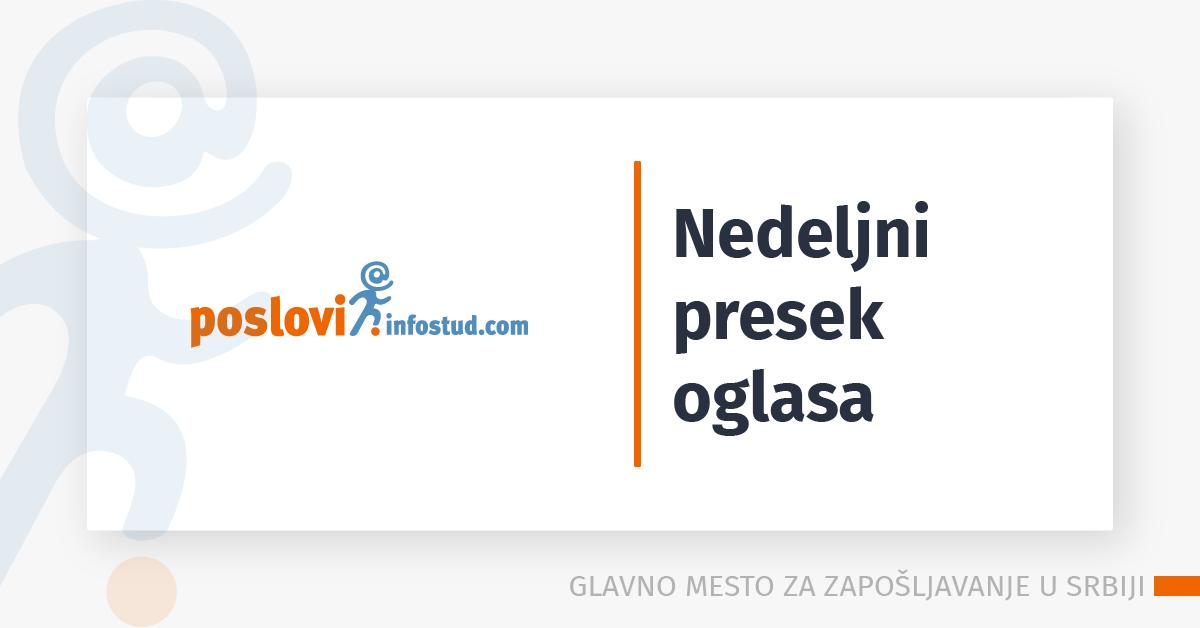 nedeljni presek oglasa za posao na sajtu poslovi.infostud.com - ponuda poslova u kategorijama trogivna i prodaja, mašinstvo, ekonomija
